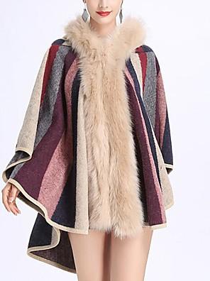 cheap Bridesmaid Dresses-Sleeveless Coats / Jackets / Capes Faux Fur / Knit / Fox Fur Wedding / Party / Evening Women's Wrap With Cap / Fur / Stripe