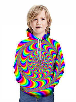 cheap Boys' Tops-Kids Boys' Active Streetwear Geometric 3D Patchwork Print Long Sleeve Hoodie & Sweatshirt Rainbow