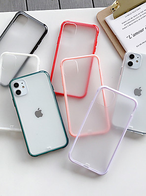 cheap iPhone Screen Protectors-Case For Apple iPhone 11 / iPhone 11 Pro / iPhone 11 Pro Max Frosted / Transparent Back Cover Solid Colored Acrylic