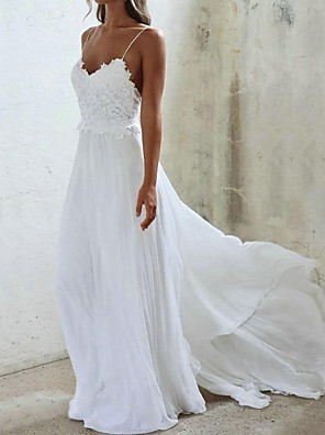 cheap Wedding Dresses-A-Line Wedding Dresses V Neck Sweep / Brush Train Chiffon Spaghetti Strap with Lace Insert 2020