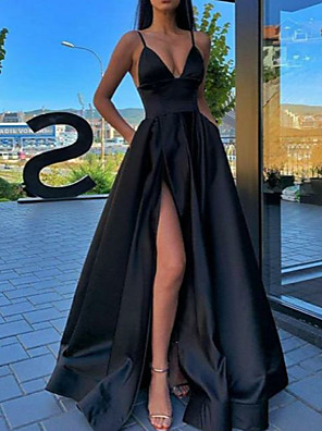 cheap Prom Dresses-A-Line Sexy Black Prom Formal Evening Dress Spaghetti Strap Sleeveless Sweep / Brush Train Satin with Pleats Split Front 2020