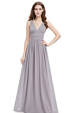 cheap Bridesmaid Dresses-A-Line V Neck Floor Length Chiffon Bridesmaid Dress with Ruching / Pleats