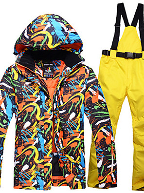 cheap Party Dresses-ARCTIC QUEEN Men's Ski Jacket with Pants Camping / Hiking Winter Sports Waterproof Windproof Warm Polyester Jacket Pants / Trousers Clothing Suit Ski Wear