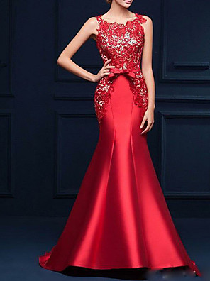 cheap Evening Dresses-Mermaid / Trumpet Luxurious Red Engagement Formal Evening Dress Jewel Neck Sleeveless Sweep / Brush Train Satin with Bow(s) Appliques 2020