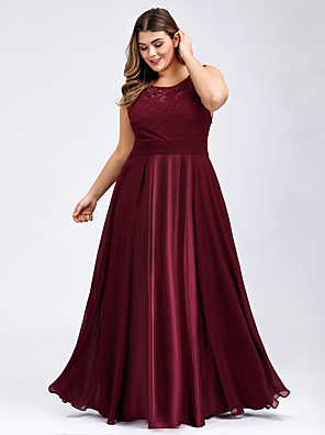 cheap Evening Dresses-A-Line Elegant & Luxurious Prom Dress Jewel Neck Sleeveless Floor Length Lace Satin with Lace Insert 2020
