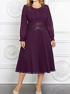 cheap Mother of the Bride Dresses-A-Line Mother of the Bride Dress Plus Size Jewel Neck Tea Length Chiffon Long Sleeve with Appliques 2020