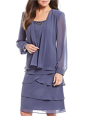 cheap Mother of the Bride Dresses-Two Piece Mother of the Bride Dress Plus Size Jewel Neck Knee Length Chiffon Long Sleeve with Beading Tier 2020