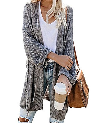 cheap More To Love-Women's Solid Colored Long Sleeve Loose Cardigan Sweater Jumper, Collarless Black / Light gray / White S / M / L