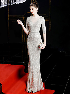 cheap Evening Dresses-Mermaid / Trumpet Sexy Sparkle & Shine Formal Evening Dress Jewel Neck Half Sleeve Sweep / Brush Train Sequined with Sequin 2020