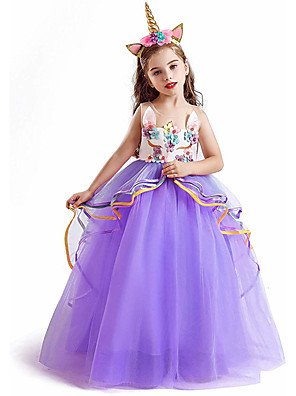 cheap Girls' Dresses-Unicorn Dress Cosplay Costume Masquerade Girls' Movie Cosplay A-Line Slip Cosplay Halloween Purple / Pink / Blue Dress Halloween Children's Day Masquerade Poly / Cotton Blend