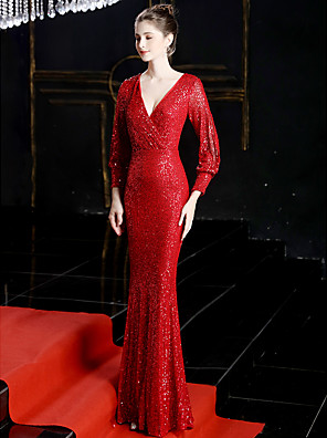 cheap Prom Dresses-Sheath / Column Sexy Sparkle & Shine Formal Evening Dress V Neck Long Sleeve Sweep / Brush Train Sequined with Sequin 2020