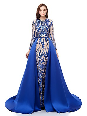 cheap Evening Dresses-Ball Gown Sparkle Blue Prom Formal Evening Dress Jewel Neck Long Sleeve Court Train Sequined with Overskirt Pattern / Print Appliques 2020