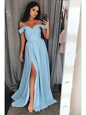 cheap Bridesmaid Dresses-A-Line Elegant Furcal Prom Dress Spaghetti Strap Short Sleeve Sweep / Brush Train Satin with Split Front 2020