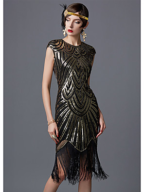cheap Maxi Dresses-The Great Gatsby Charleston 1920s Flapper Dress Women's Sequins Costume Black / Golden+Black / White Vintage Cosplay Party Homecoming Prom Sleeveless