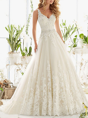 cheap Wedding Dresses-A-Line Wedding Dresses V Neck Sweep / Brush Train Lace Regular Straps Formal Illusion Detail with Buttons Crystals Beading 2020