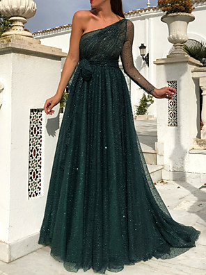 cheap Evening Dresses-A-Line Sparkle Green Prom Formal Evening Dress One Shoulder Sleeveless Sweep / Brush Train Tulle with Sequin 2020