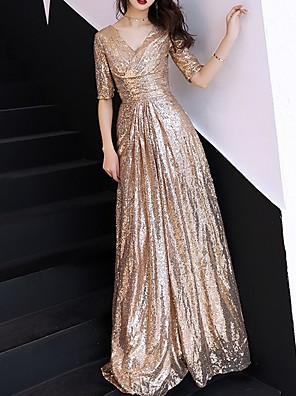 hesapli Özel Davet Elbiseleri-A-Şekilli Pullu ve Işıltılı Balo Resmi Akşam Elbise V Yaka Yarım Kol Yere Kadar Polyester ile Pileler Payet 2020