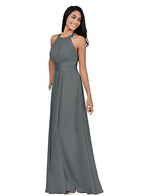 cheap Bridesmaid Dresses-A-Line Halter Neck Floor Length Chiffon Bridesmaid Dress with Ruching / Pleats