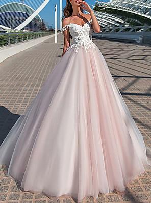 cheap Wedding Dresses-A-Line Wedding Dresses Off Shoulder Court Train Tulle Short Sleeve Romantic Illusion Detail with Appliques 2020