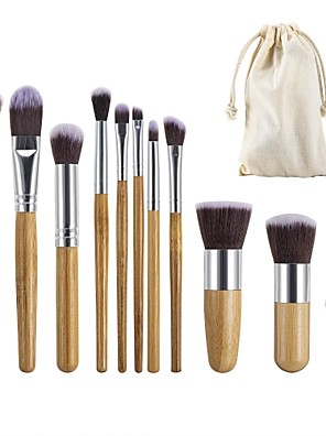 cheap Makeup Brush Sets-Professional Makeup Brushes 11pcs Eco-friendly Professional Soft Full Coverage Comfy Wooden / Bamboo for Makeup Set Makeup Tools Makeup Brushes Blush Brush Foundation Brush Makeup Brush Eyebrow Brush
