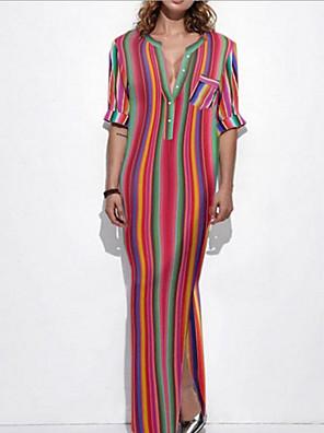 cheap Women's Dresses-Women's Maxi Sheath Dress - Half Sleeve Striped Deep V Red S M L XL XXL