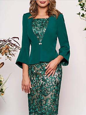 cheap Romantic Lace Dresses-Women's Two Piece Dress - 3/4 Length Sleeve Geometric Lace Elegant Slim Green M L XL XXL XXXL