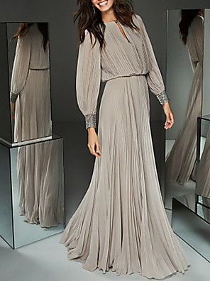 cheap Evening Dresses-A-Line Mother of the Bride Dress Elegant & Luxurious Jewel Neck Floor Length Chiffon Long Sleeve with Buttons Pleats Beading 2020