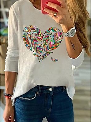 cheap Women's T-shirts-Women's Daily T-shirt Floral Long Sleeve Tops White Blue Blushing Pink
