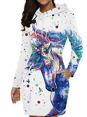 abordables Robes Femme-Femme Robe Courte Mini Manches Longues Elégant Animal Vin Blanche Rouge S M L XL