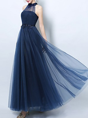 cheap Special Occasion Dresses-A-Line Empire Blue Prom Formal Evening Dress Halter Neck Sleeveless Floor Length Tulle with Beading Appliques 2020