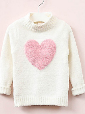 cheap Girls' Dresses-Kids Girls' Basic Color Block Long Sleeve Sweater & Cardigan White
