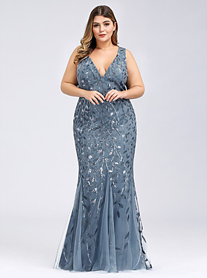 cheap Evening Dresses-Mermaid / Trumpet Plus Size Blue Prom Formal Evening Dress V Neck Sleeveless Floor Length Lace Tulle with Pattern / Print Appliques 2020