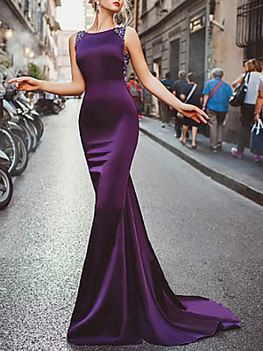 cheap Prom Dresses-Mermaid / Trumpet Elegant Formal Evening Dress Jewel Neck Sleeveless Sweep / Brush Train Satin with Beading 2020