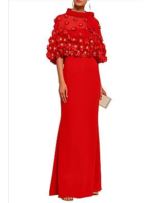cheap Prom Dresses-Sheath / Column Elegant Formal Evening Dress Jewel Neck Half Sleeve Floor Length Polyester with Pleats 2020