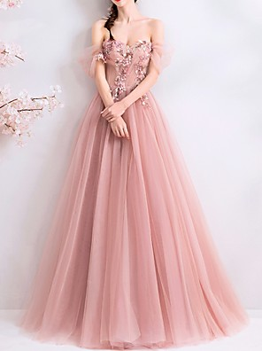 cheap Evening Dresses-A-Line Open Back Prom Formal Evening Dress Off Shoulder Short Sleeve Floor Length Tulle with Beading Appliques 2020