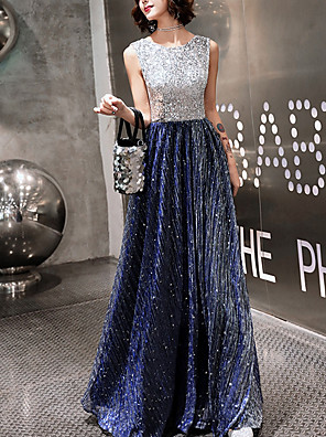 cheap Prom Dresses-A-Line Color Block Prom Formal Evening Dress Jewel Neck Sleeveless Floor Length Lace with Sequin 2020