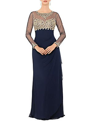 cheap Prom Dresses-Sheath / Column Mother of the Bride Dress Elegant & Luxurious Jewel Neck Floor Length Chiffon Long Sleeve with Beading Appliques 2020