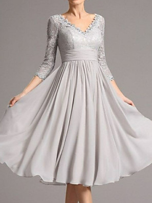 cheap Prom Dresses-A-Line Mother of the Bride Dress Plus Size V Neck Tea Length Chiffon 3/4 Length Sleeve with Appliques 2020