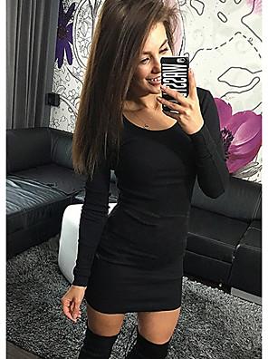 cheap Mini Dresses-Women's Mini Bodycon Dress - Long Sleeve Solid Colored Elegant Slim Wine Black Army Green S M L XL XXL XXXL XXXXL XXXXXL