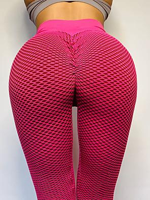 cheap Women's Yoga Pants-Women's High Waist Yoga Pants Scrunch Butt Ruched Butt Lifting Tights Leggings Tummy Control Butt Lift 4 Way Stretch Blue Pink Gray Nylon Spandex Fitness Gym Workout Running Winter Summer Sports