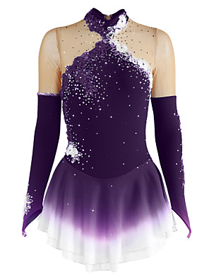 cheap Ice Skating Dresses , Pants & Jackets-Figure Skating Dress Women's Girls' Ice Skating Dress Violet Sky Blue Dusty Rose Flower Halo Dyeing Spandex Competition Skating Wear Breathable Handmade Floral Fashion Long Sleeve Ice Skating Figure