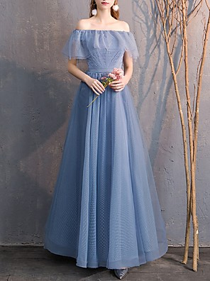 cheap Bridesmaid Dresses-A-Line Off Shoulder Floor Length Tulle Bridesmaid Dress with