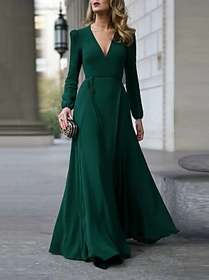 cheap Prom Dresses-Women's Maxi Trumpet / Mermaid Dress - Long Sleeve Solid Color Patchwork Spring & Summer Fall & Winter Deep V Party Wine Black Army Green S M L XL