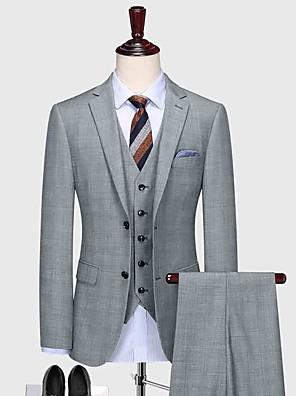 cheap Custom Tuxedo-Light gray plaid wool custom suit