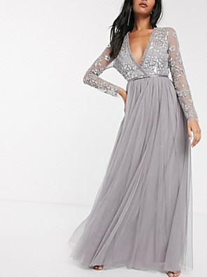 cheap Evening Dresses-A-Line Elegant Formal Evening Dress Plunging Neck Long Sleeve Floor Length Tulle with Pleats Sequin 2020