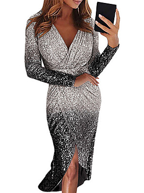 cheap Party Dresses-Women's Asymmetrical Bodycon Dress - Long Sleeve Color Gradient Color Block Sequins Ruched Deep V Deep V Sexy Cocktail Party New Year Going out Black Blue Purple Red Yellow Blushing Pink Gold Silver