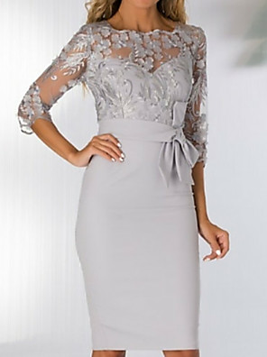 cheap Prom Dresses-Sheath / Column Mother of the Bride Dress Elegant See Through Bateau Neck Knee Length Polyester 3/4 Length Sleeve with Bow(s) Appliques Split Front 2020