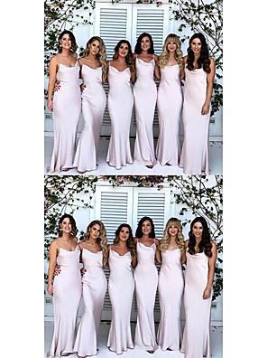 cheap Bridesmaid Dresses-Mermaid / Trumpet Elegant Formal Evening Dress Spaghetti Strap Sleeveless Sweep / Brush Train Jersey with 2020