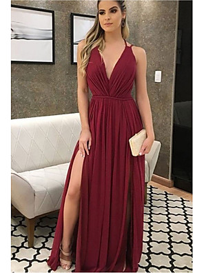 cheap Bridesmaid Dresses-A-Line Plunging Neck Floor Length Chiffon Bridesmaid Dress with Pleats