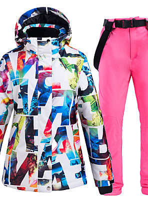 cheap Party Dresses-ARCTIC QUEEN Women's Ski Jacket with Pants Skiing Camping / Hiking Winter Sports Waterproof Windproof Warm Polyester Jacket Pants / Trousers Clothing Suit Ski Wear
